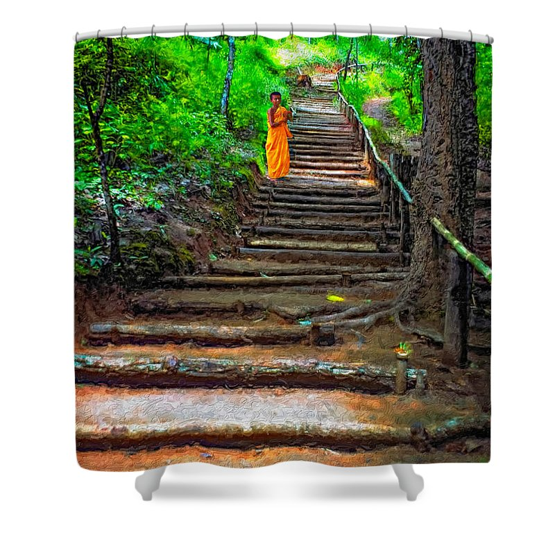 Jungle Shower Curtain featuring the photograph Stairway To Heaven Impasto by Steve Harrington
