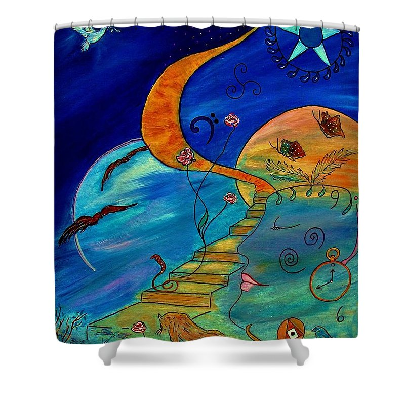Symbolic Shower Curtain featuring the painting Stairway To Nirvana by Robin Monroe