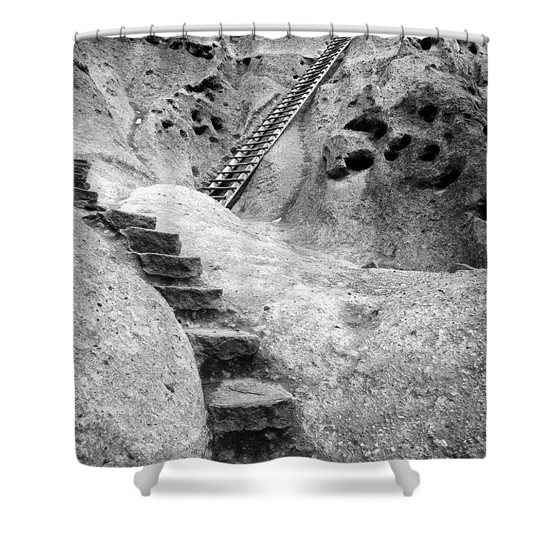 B&w Shower Curtain featuring the photograph Stairways To The Kiva by Sandra Bronstein