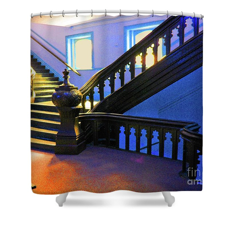 University Of Tampa Shower Curtain featuring the photograph Stairwell Of Color by Jost Houk