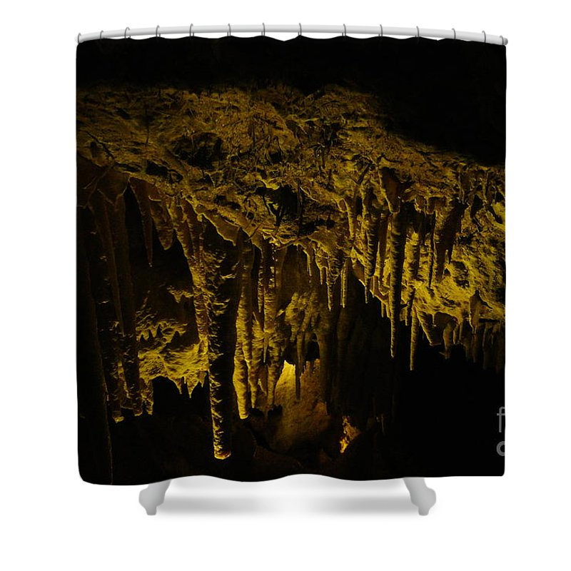 Cave Shower Curtain featuring the photograph Stalactites by Oscar Moreno