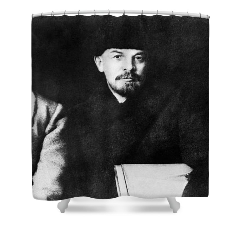1919 Shower Curtain featuring the photograph Stalin, Lenin & Trotsky by Granger