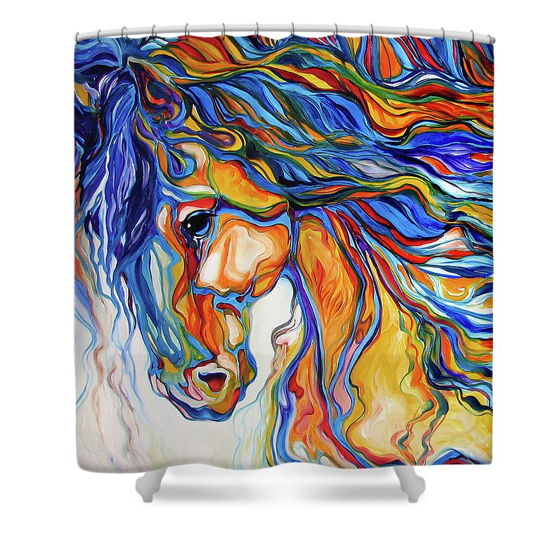 Equine Shower Curtain featuring the painting Stallion Southwest By M Baldwin by Marcia Baldwin