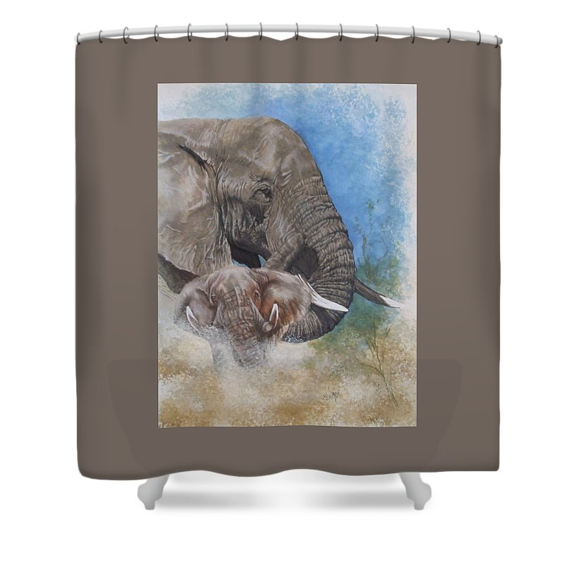 Elephant Shower Curtain featuring the mixed media Stalwart by Barbara Keith