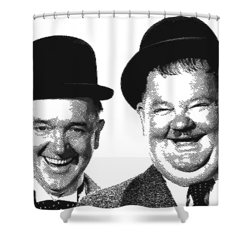 Stan Shower Curtain featuring the drawing Stan And Ollie - Parallel Hatching by Samuel Majcen