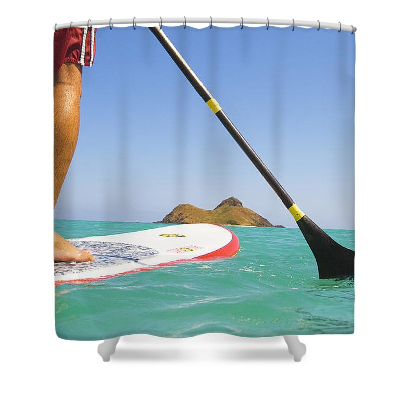 Adrenaline Shower Curtain featuring the photograph Stand Up Paddling by Dana Edmunds - Printscapes