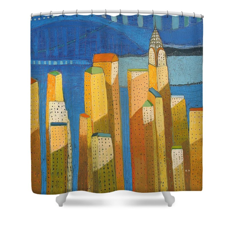 Abstract Cityscape Shower Curtain featuring the painting Standing High by Habib Ayat