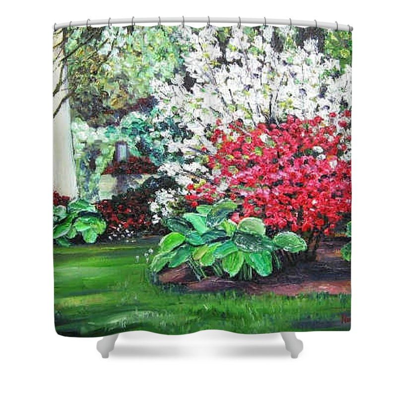 Blossoms Shower Curtain featuring the painting Stanely Park Blossoms by Richard Nowak