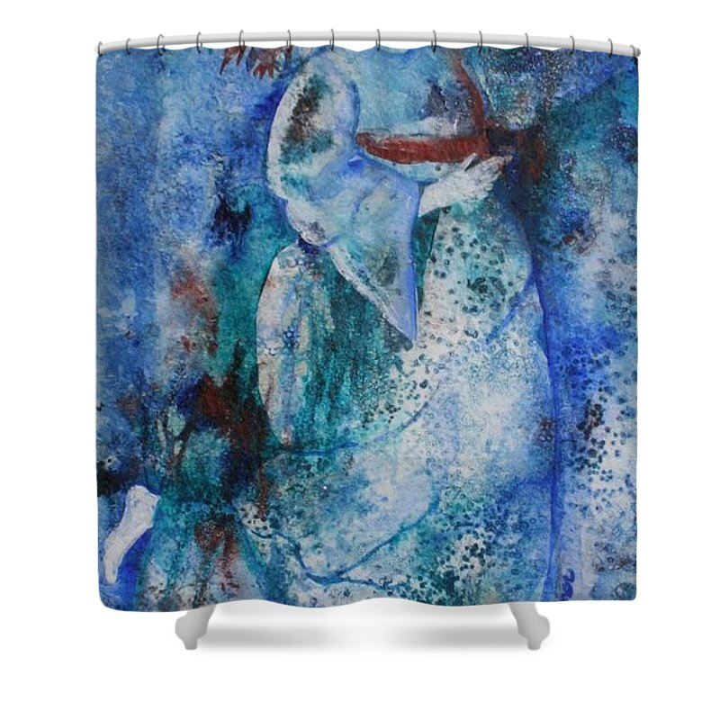 Abstract Shower Curtain featuring the painting Star Dancer by Jean Blackmer