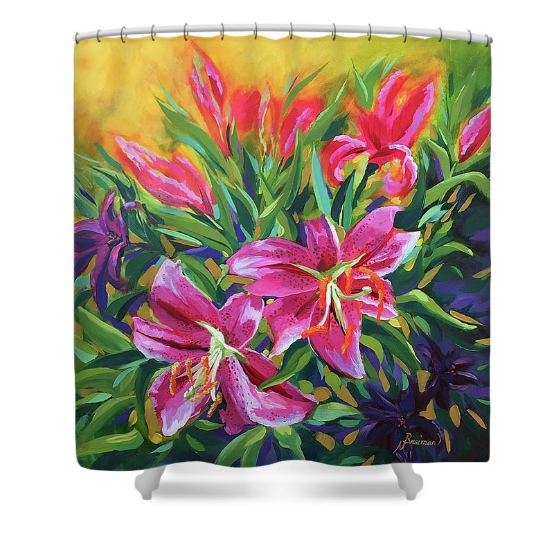 Stargazer Lily Shower Curtain featuring the painting Star Gazers by Nancy Breiman