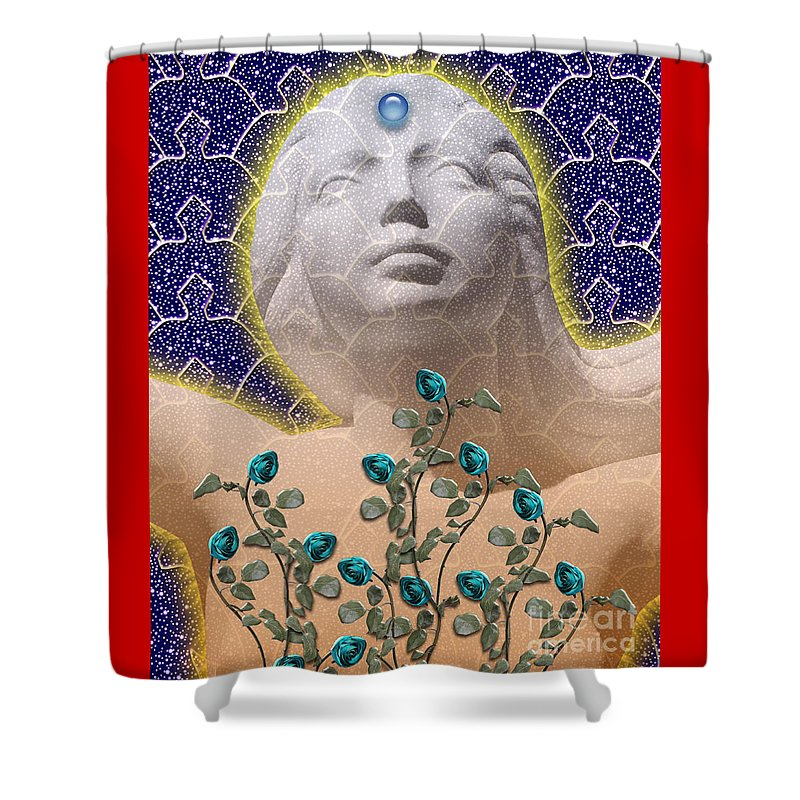 Girl Shower Curtain featuring the digital art Star Goddess by Keith Dillon