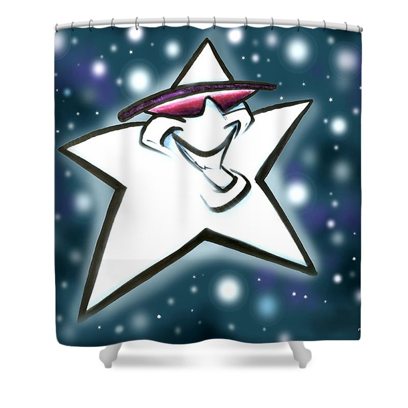 Star Shower Curtain featuring the digital art Star by Kevin Middleton