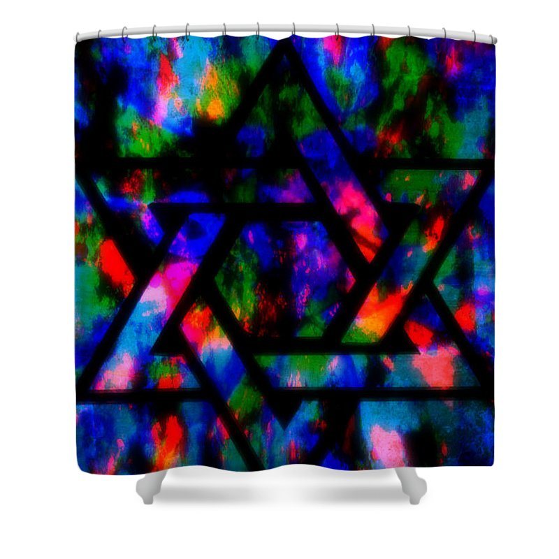 Hebrew Shower Curtain featuring the painting Star Of David by Wbk