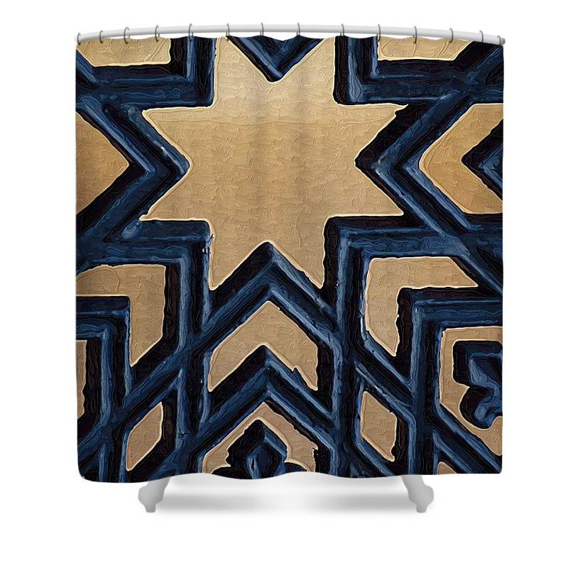 Star Shower Curtain featuring the photograph Star On Iron Gate by Donna Bentley