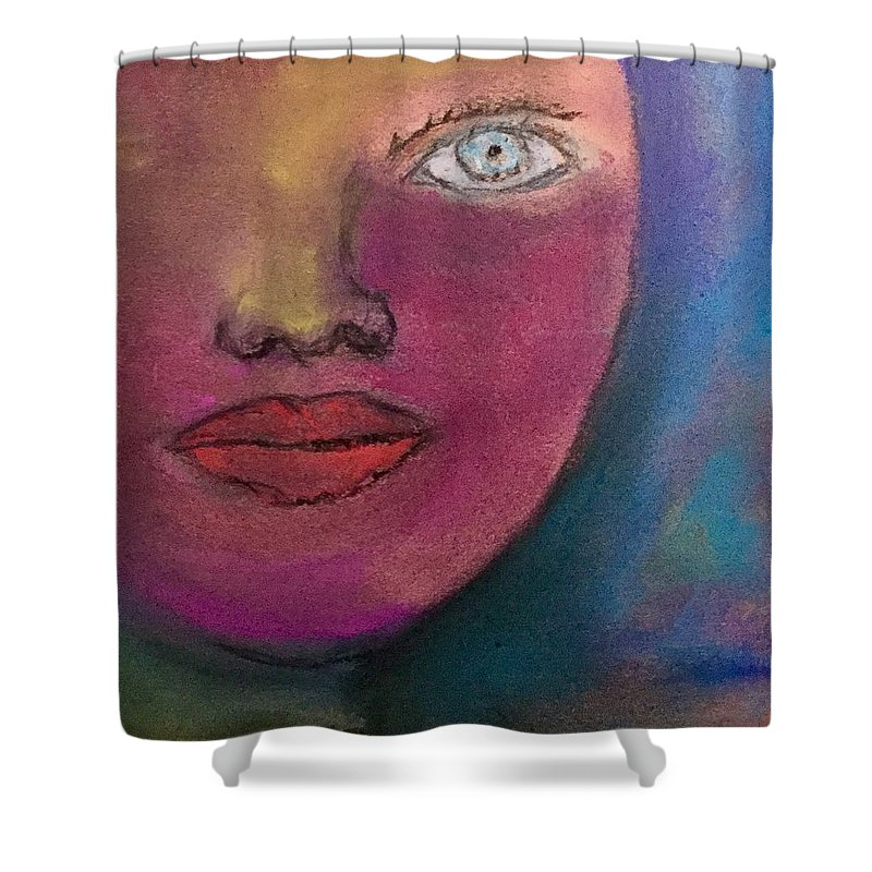 Face Abstract Pastel Red Eye Lips Nose Shower Curtain featuring the pastel Star by Tom Harmon