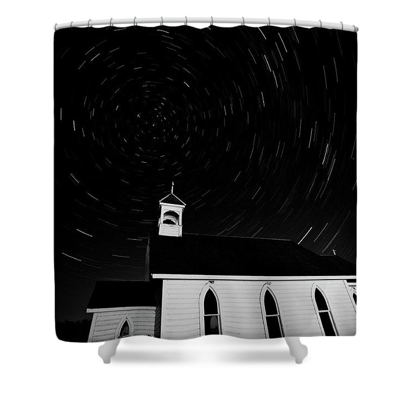 Old Shower Curtain featuring the digital art Star Tracks Over Saint Columba Anglican Country Church by Mark Duffy