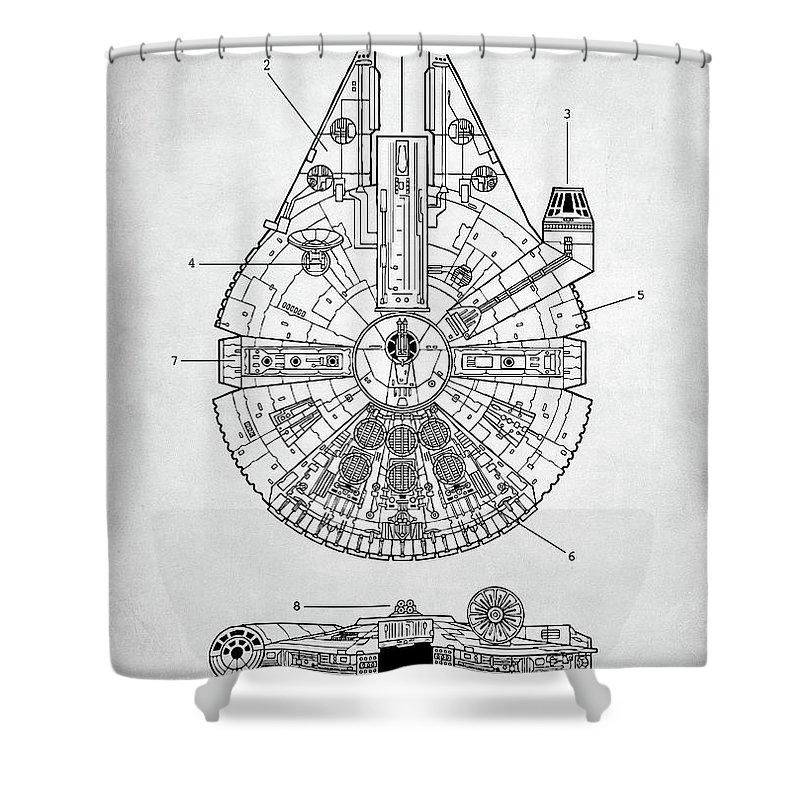 Star Wars Millennium Falcon Patent Shower Curtain For Sale By Zapista