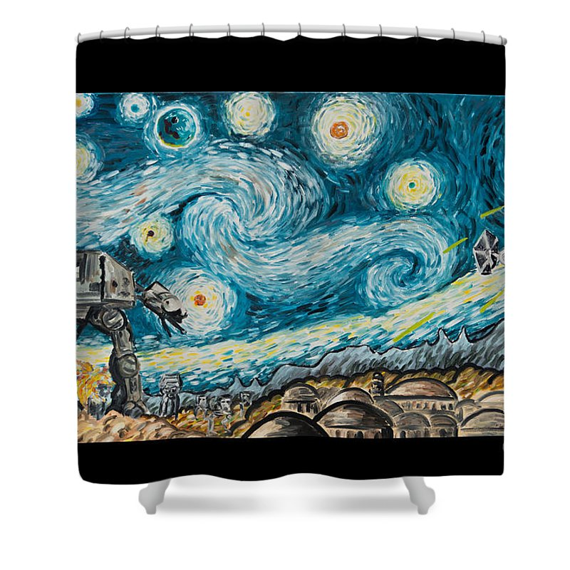 Star Wars Shower Curtain Featuring The Painting Starry Night By James Holko