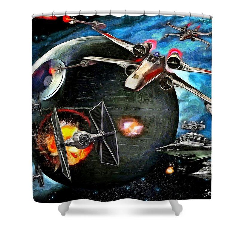 Star Wars 7 Shower Curtain featuring the painting Star Wars Worlds At War by Leonardo Digenio