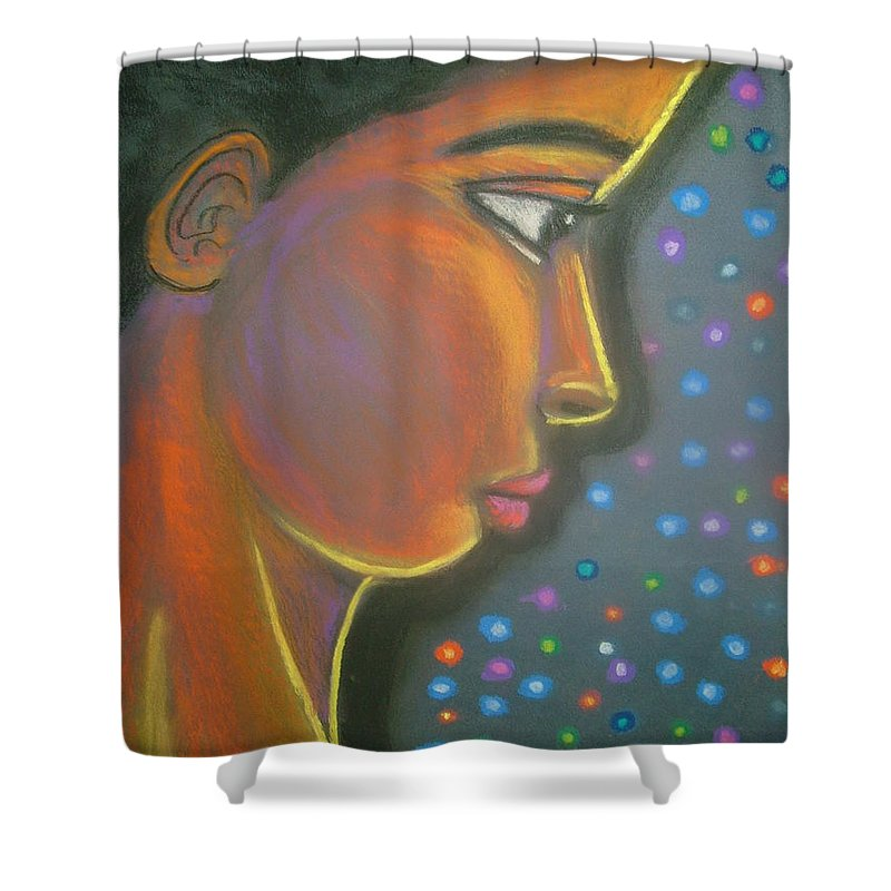 Shower Curtain featuring the drawing Starbrite by Jan Gilmore