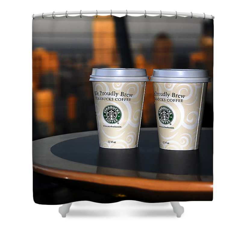 Coffee Shower Curtain featuring the photograph Starbucks At The Top by David Lee Thompson