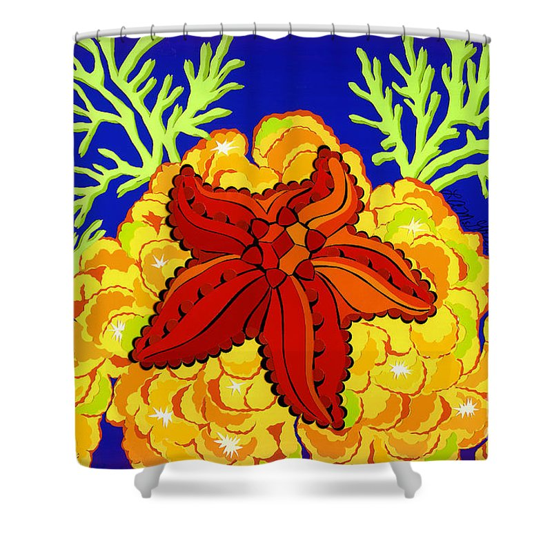 Nature Shower Curtain featuring the drawing Starfish by Lucyna A M Green