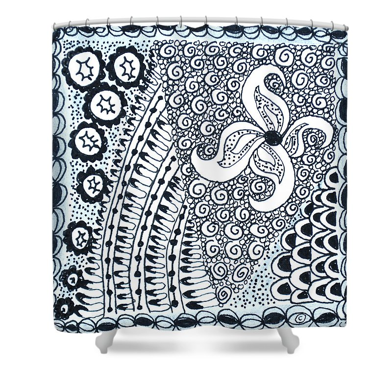 Zentangle Shower Curtain featuring the drawing Starfish by Carole Brecht