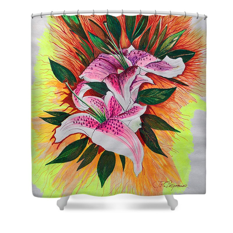 Flowers Shower Curtain featuring the drawing Stargazers by J R Seymour