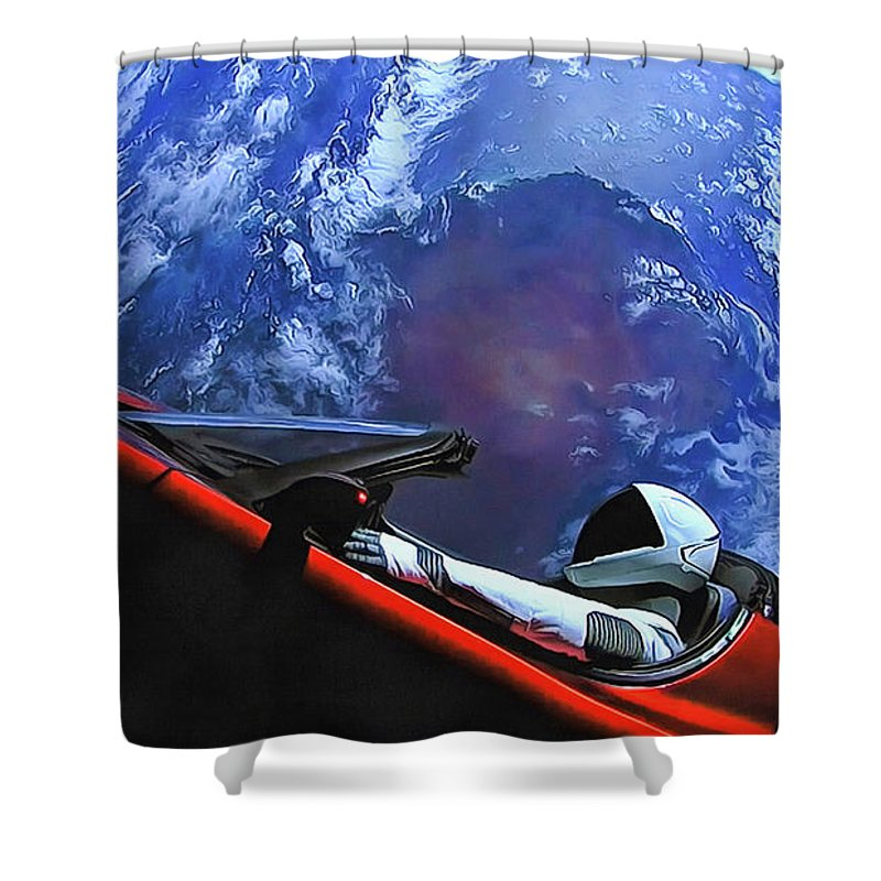 Starman Shower Curtain Featuring The Photograph In Tesla With Planet Earth By SpaceX