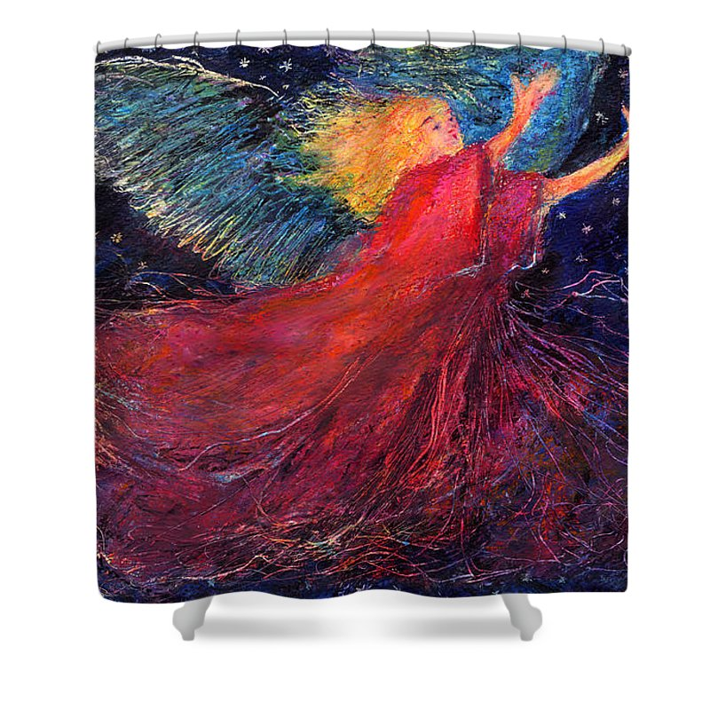 Angel Shower Curtain featuring the painting Starry Angel by Diana Ludwig