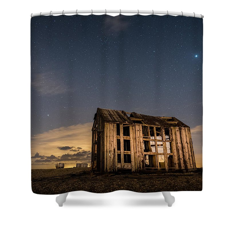 Dungeness Shower Curtain featuring the photograph Starry Night At Dungeness by David Attenborough