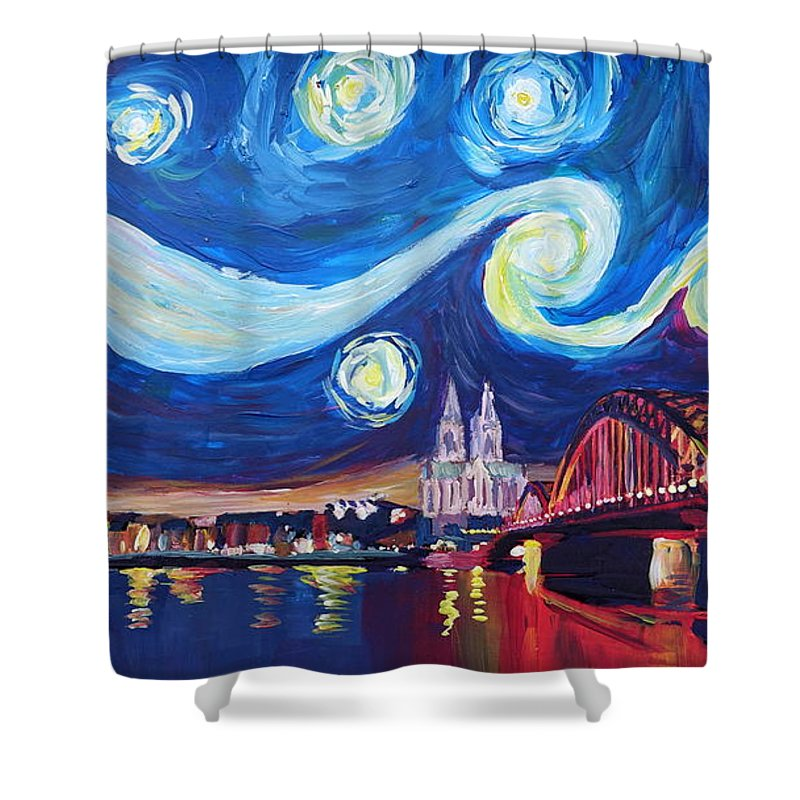 Starry Night Shower Curtain Featuring The Painting In Cologne