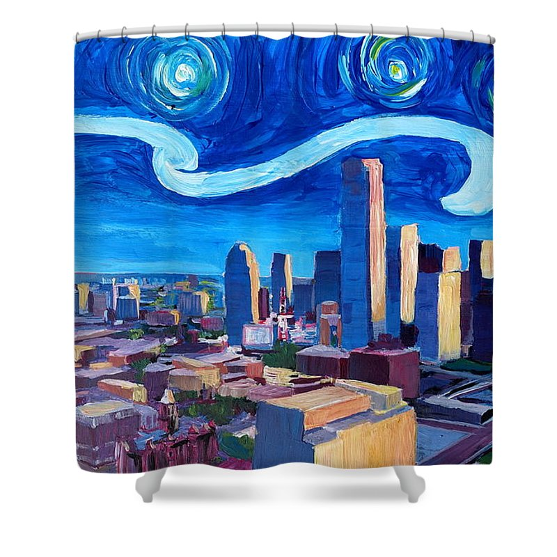 Dallas Shower Curtain Featuring The Painting Starry Night In