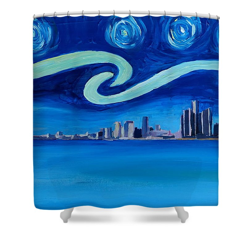 Detroit Shower Curtain Featuring The Painting Starry Night In