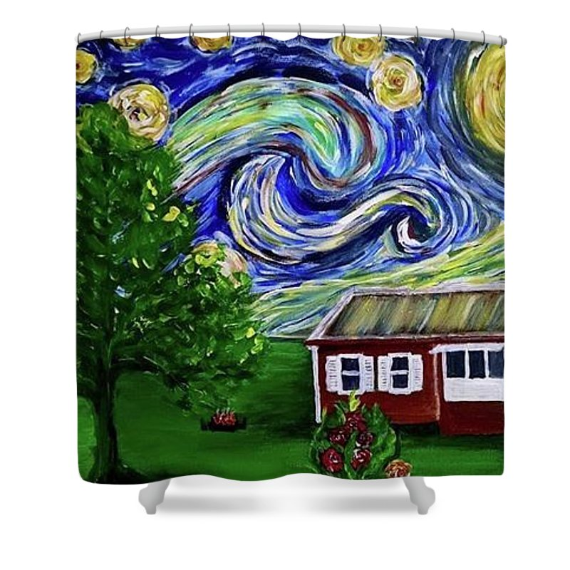 Starry Night Shower Curtain featuring the painting Starry Night Over Grandma's Cabin by Lei Wen