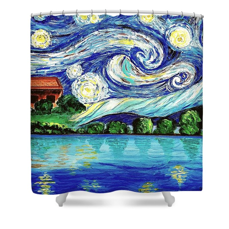 Starry Night Shower Curtain featuring the painting Starry Night Over The Lake by Lei Wen