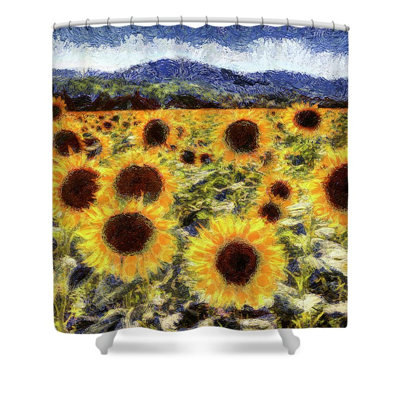 Van Gogh Starry Night Shower Curtain Featuring The Mixed Media Sunflowers By