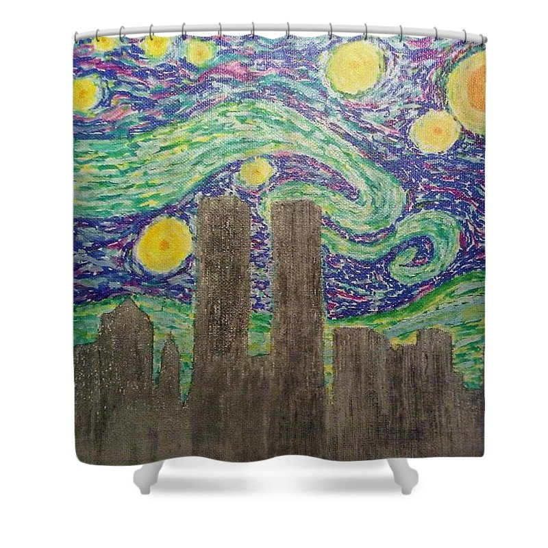 Van Gogh Shower Curtain featuring the painting Starry Towers by John Cunnane