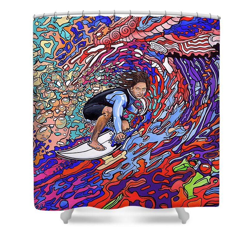 Psychedelic Surfer Shower Curtain featuring the painting Starship Earth by J Allery
