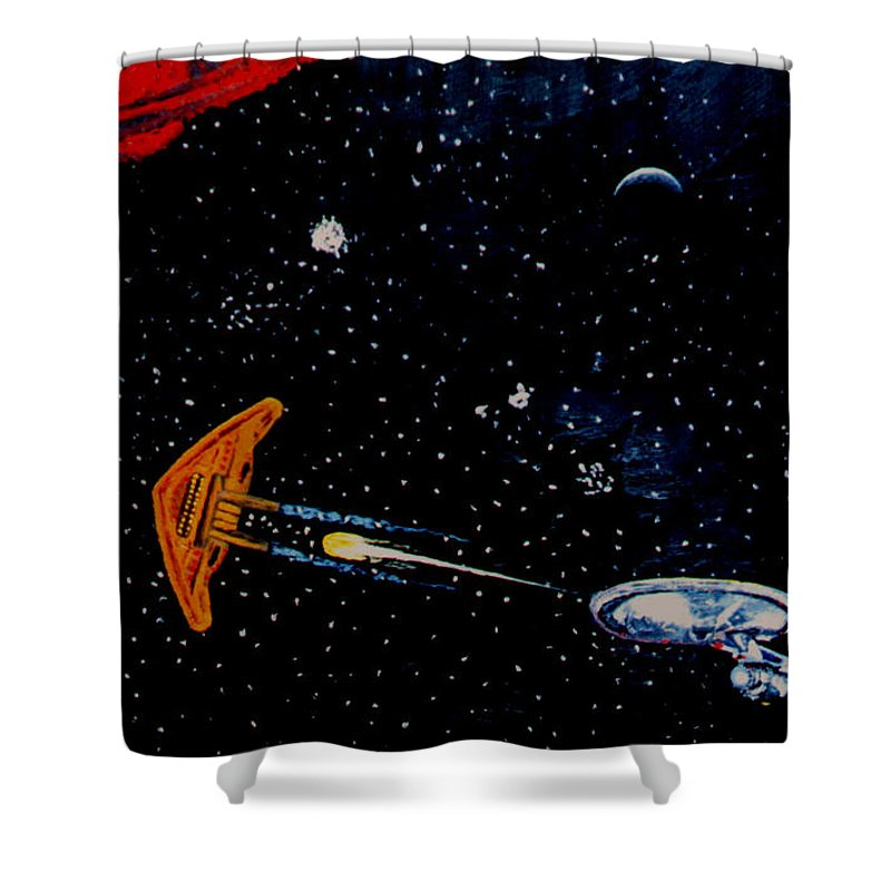 Startrel.scoemce Foxopm.s[ace.[;amets.stars Shower Curtain featuring the painting Startrek by Stan Hamilton