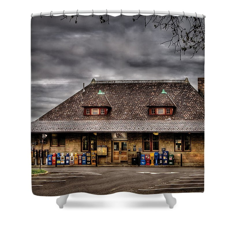 Savad Shower Curtain featuring the photograph Station - Westfield Nj - The Train Station by Mike Savad