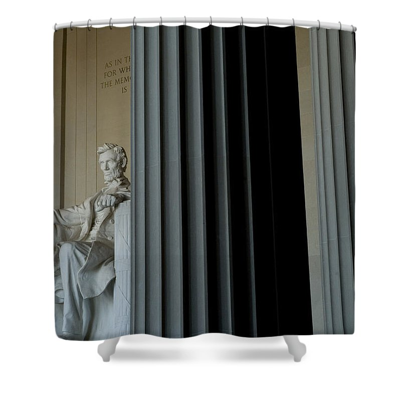 Washington Shower Curtain featuring the photograph Statue Of Abraham Lincoln Is Seen by Todd Gipstein