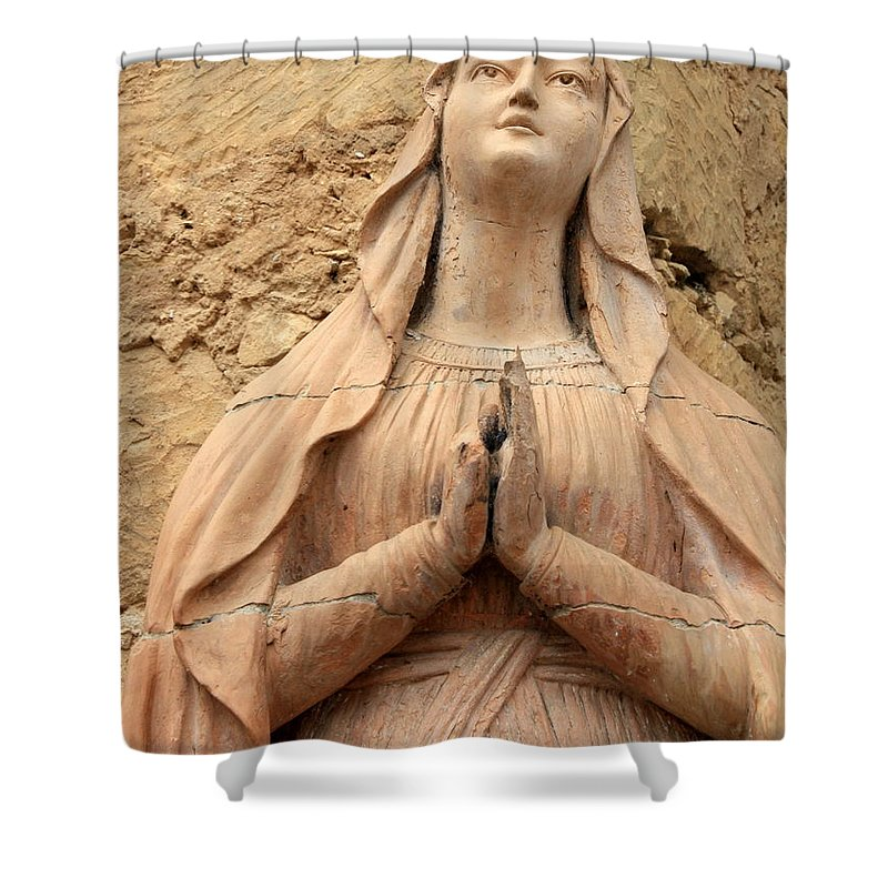 Mary Shower Curtain featuring the photograph Statue Of Mary Closeup by Carol Groenen