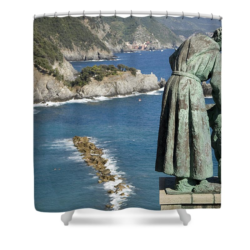 Travel Shower Curtain featuring the photograph Statue Of Saint Francis Of Assisi Petting A Dog by Ian Middleton