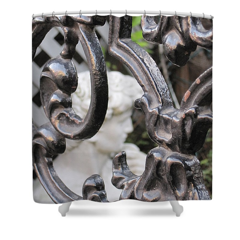 French Quarter Shower Curtain featuring the photograph Statue Through A French Quarter Gate by Jan Prewett