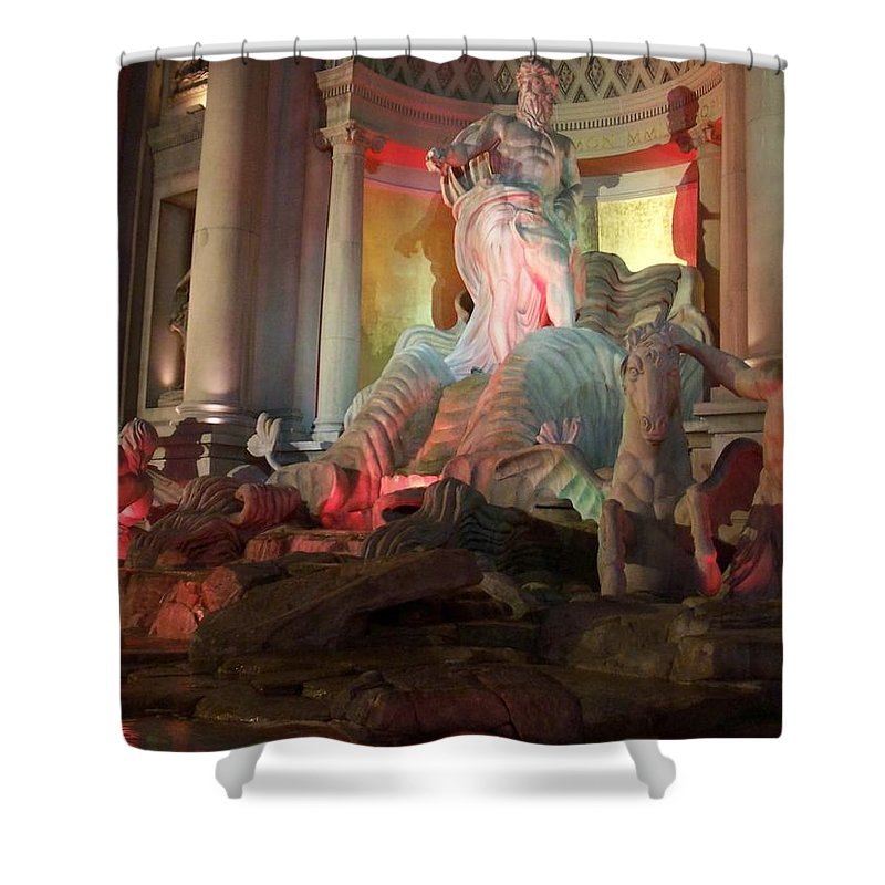 Ceasars Palace Shower Curtain featuring the photograph Statues At Ceasars Palace by Anita Burgermeister