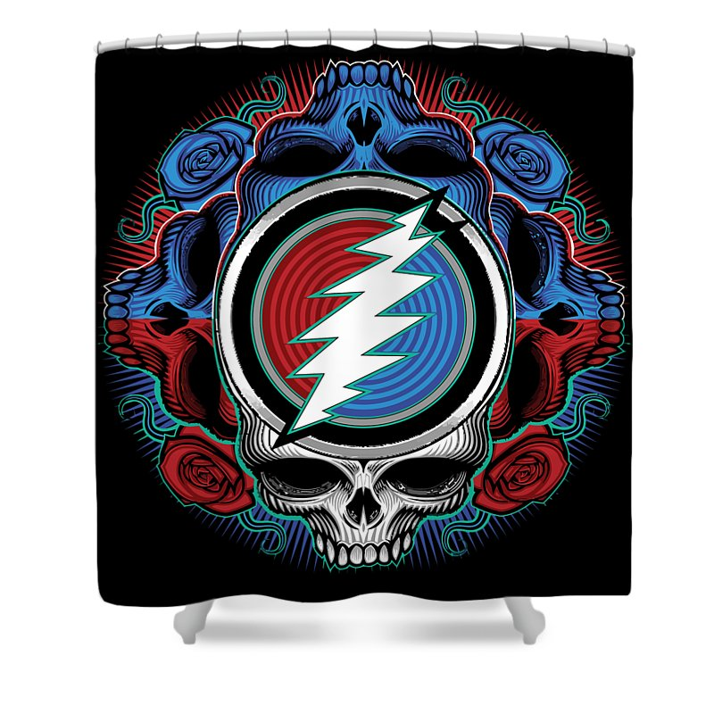 Steal Your Face Shower Curtain featuring the digital art Steal Your Face - Ilustration by The Bear
