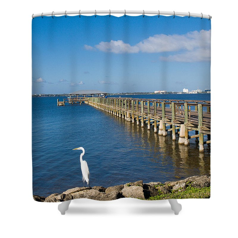 Florida; Melbourne; Beach; Atlantic; Coast; East; Space; Pier; Pineapples; Steamboat; Load; Cargo; I Shower Curtain featuring the photograph Steamboat Landing Ot Melbourne Beach In Florida by Allan Hughes