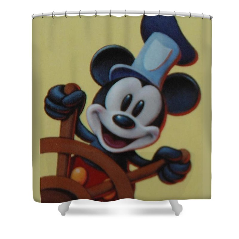 Disney Shower Curtain featuring the photograph Steamboat Willy by Rob Hans