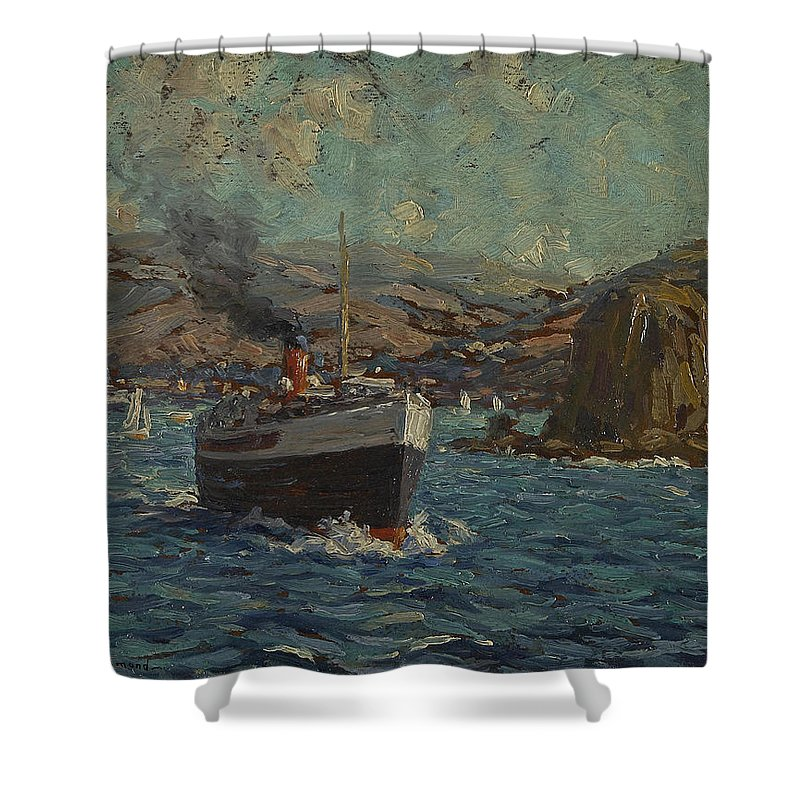 Granville Redmond Shower Curtain featuring the painting Steamer Leaving Avalon. Catalina Island by Granville Redmond